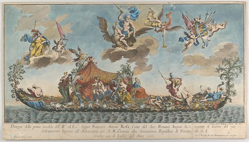 The highly ornamented first gondola of Francesco Antonio Berka entering Venice, Gods on clouds in the sky. Date: 1700. Accession number: 505809.