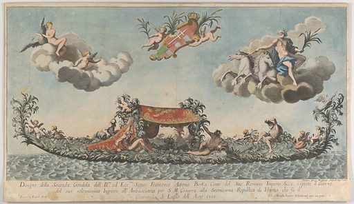 The highly ornamented second gondola of Francesco Antonio Berka entering Venice, Gods on clouds in the upper section. Date: 1700. Accession number: 5058010.