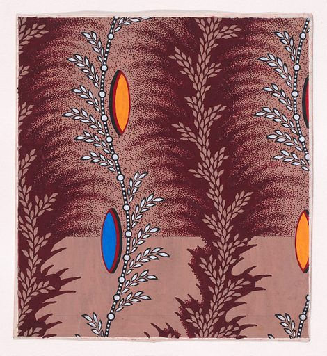 Textile Design with Alternating Vertical Rows of Undulating Stylized Wheat Ears and Undulating Strips of Pearls with Alternating Offsetting Wheat Ears and Lens Shapes. Date: 1840. Accession number: 19786715(175).