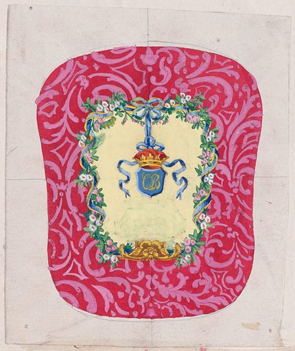 Design for a Chair Back Cover with an Ornamental Frame Formed by a Garland of Leaves and Flowers with an Interlacing Ribbon that Forms a Bow from which a Crown Motif with a Monogram Hangs. Date: 1870–1900? Accession number: 4950185(a).