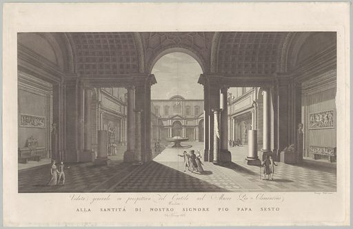 View of the courtyard of the Museo Pio-Clementino, from 'Veduta generale in prospettiva del cortile nel Museo Pio-Clementino'. Date: ca 1790–1827. Accession number: 51644537(2).