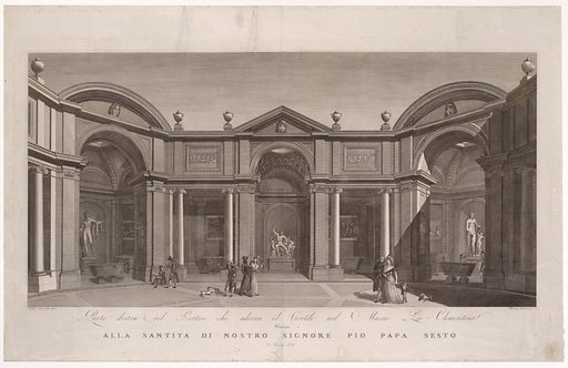 Right side of the portico in the courtyard of the Museo Pio-Clementino, from 'Veduta generale in prospettiva del cortile nel Museo Pio-Clementino'. Date: ca 1790–1827. Accession number: 51644537.