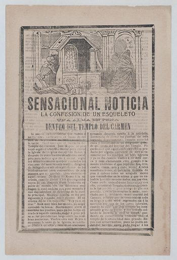 News story about the sighting of a skeleton inside a holy temple, a man lying on the floor while a skeleton returns to a chamber and a cloaked figure exits to the right (1903). Accession number: 46.46.125.