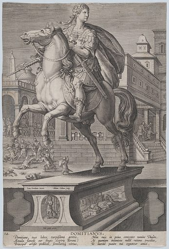 Plate 12: equestrian statue of Domitian, seen three-quarters to the left, with his stabbing death at right in the background, from 'Roman Emperors on Horseback' (ca 1587–89). Accession number: 49.95.1002(12).