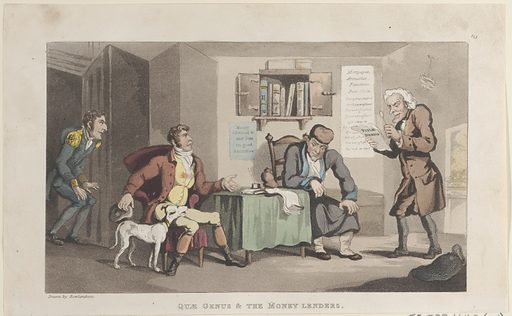 """Quae Genus & The Money Lenders, from """"The History of Johnny Quae Genus, The Little Foundling of the Late Doctor Syntax"""". Date: September 1, 1821. Accession number: 595331642(15)."""