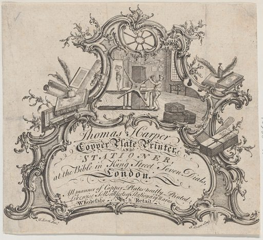 Trade Card for Thomas Harper, Copper Plate Printer and Stationer