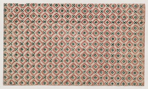 Sheet with overall pattern of squares and crosses. Date: 19th century. Accession number: 26719(51).