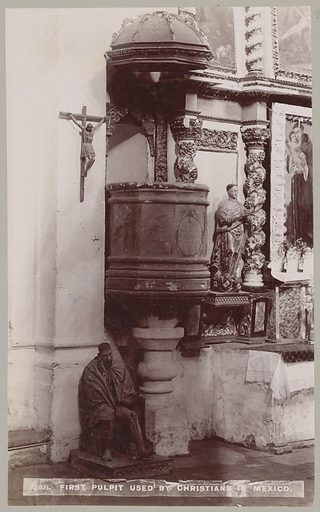 First pulpit used by Christians in Mexico. Date: 1898. Collection: Old Mexico: 1898. Image ID: 57030922.