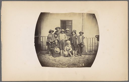 Group portrait of native Peruvians. Date: ca 1868. Collection: Photographs of Peru. Image ID: 57036823.