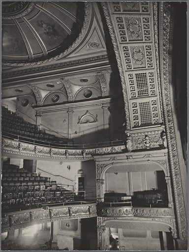 Fifth Avenue Theater interior, showing orchestra, boxes, first and second balconies, 1185 Broadway, Manhattan. Date: 1938–11-02. Collection: Changing New York. Image ID: 482563.