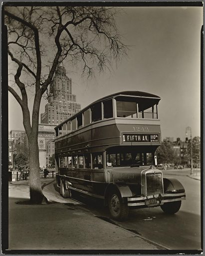Fifth Avenue Bus, Washington Square, Manhattan. Date: 1936–10-21. Collection: Changing New York. Image ID: 482857.
