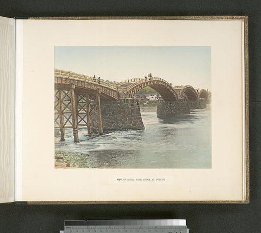 View of Kintai Bashi Bridge at Iwakuni. Date: 1880–1899. Collection: Japan. Image ID: 110121.