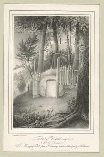 Tomb of Washington, Mount Vernon. Date: 1777–1890. Collection: Emmet Collection of Manuscripts Etc. Relating to American History, The pictorial field-book of the Revolution, Volume 2 (Chapters 14–16). Image ID: 417941.