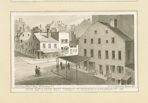 South east & south west corners of Greenwich & Franklin Sts. 1861. Date: ca 1828–1890. Collection: Emmet Collection of Manuscripts Etc. Relating to American History, Booth's History of New York, Booth's History of New York. Image ID: 420972.