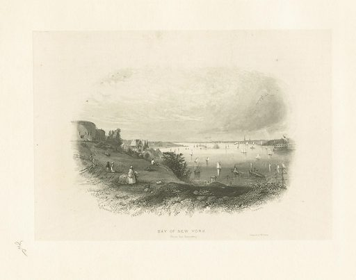 Bay of New York (from the Narrows). Date: ca 1828–1890. Collection: Emmet Collection of Manuscripts Etc. Relating to American History, Booth's History of New York, Booth's History of New York. Image ID: 422126.