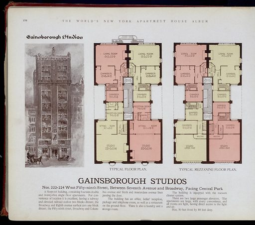 Gainsborough Studios, nos. 222–224 West Fifty-ninth Street, between Seventh Avenue and Broadway, facing Central Park. Date: 1910–03. Origin: New York. Collection: The World's loose leaf album of apartment houses: containing views and ground plans of the principal high class apartment houses in New York City, together with a map showing the situation of these houses, transportation facilities, etc. Image ID: 417421.