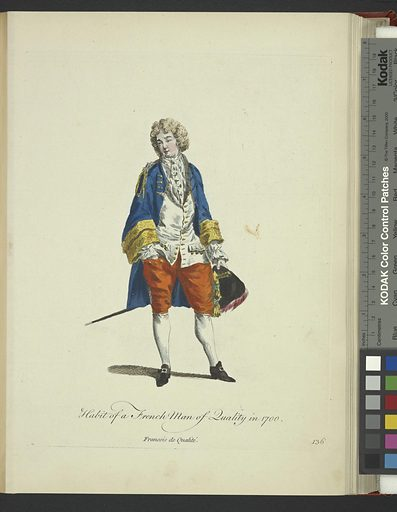 Habit of a French man of quality in 1700. Francois de qualité. Date: 1757–1772. Origin: London. Collection: A collection of the dresses of different nations: antient [sic] and modern. Particularly old English dresses; after the designs of Holbein, Vandyke, Hollar and others, with an account of the authorities from which the figures are taken, and some short historical remarks on the subject. To which are added the habits of the principal characters on the English stage. Image ID: 1638147.