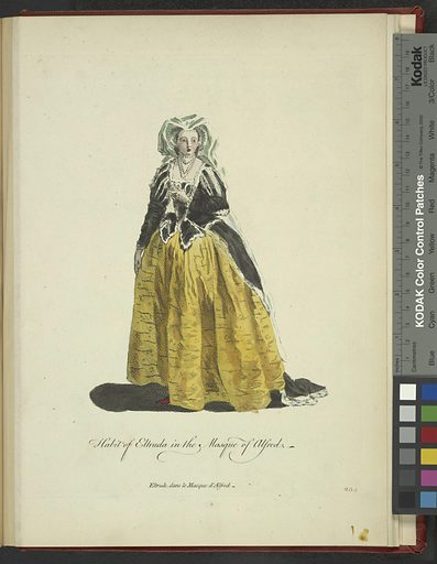 Habit of Eltruda in the Masque of Alfred. Eltrude dans le Masque d'Alfred. Date: 1757–1772. Origin: London. Collection: A collection of the dresses of different nations: antient [sic] and modern. Particularly old English dresses; after the designs of Holbein, Vandyke, Hollar and others, with an account of the authorities from which the figures are taken, and some short historical remarks on the subject. To which are added the habits of the principal characters on the English stage. Image ID: 1638245.