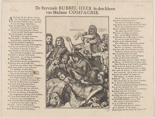 De stervende Bubbel-Heer in den schoot van Madame Compagnie. Date: 1720. Collection: South Sea Bubble prints. Image ID: 58053526.