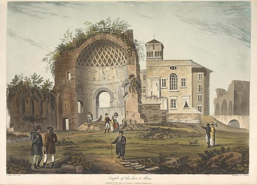 Temple of the sun and moon. Date: 1820. Origin: London. Collection: Antiquities of Rome: comprising twenty-four select views of its principal ruins and a description of each view. Image ID: 1688779.