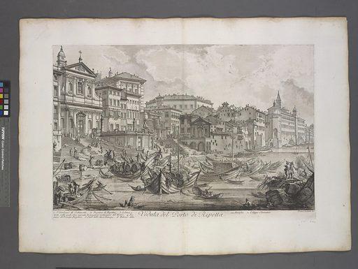 Veduta del Porto di Ripetta. Date: 1748–1751. Collection: The Charrington set: a collection of prints by Giovanni Battista Piranesi, Le Magnificenze di Roma. Image ID: 1694282.