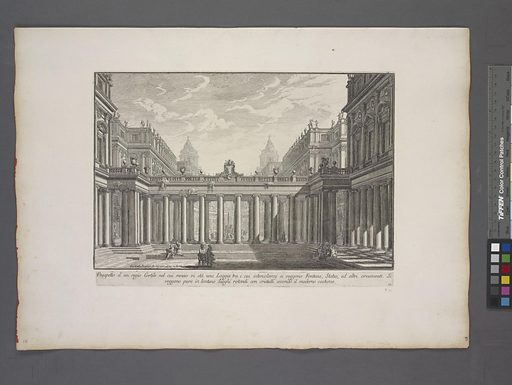 Prospeto d' un regio Cortile. Date: 1748–1751. Collection: The Charrington set: a collection of prints by Giovanni Battista Piranesi, Part One of Architecture and perspectives: drawn and etched by Gio. Batt'a Piranesi, Venetian architect; dedicated to Nicola Giobbe. Image ID: 1694330.