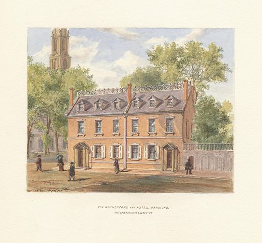The Rutherford and Axtell mansions. Cor. of Broadway & Vesey St. Collection: Emmet Collection of Manuscripts Etc. Relating to American History, Duer's Old Yorker. Image ID: em13274.