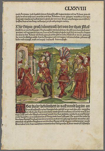 Double-sided page [fol CLXXVIII, mals kommen und bettlich seyner früntschaffe… (Massinissa's love for Queen Sophonisba]. Date: 1505. Collection: German old master prints. Image ID: 5337511.