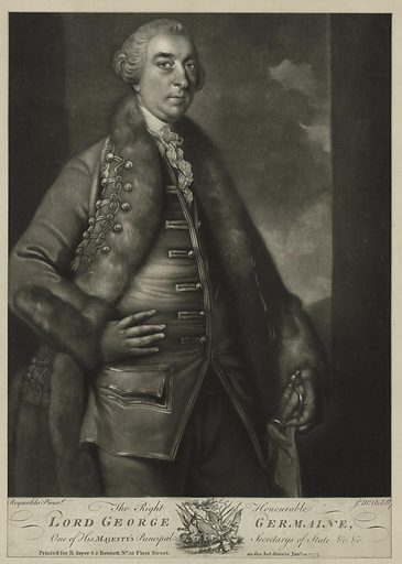 The Right Honorable Lord George Germaine. Date: 1777. Origin: [London]. Collection: Emmet Collection of Manuscripts Etc. Relating to American History, The Continental Congress of 1774. Image ID: 419929.