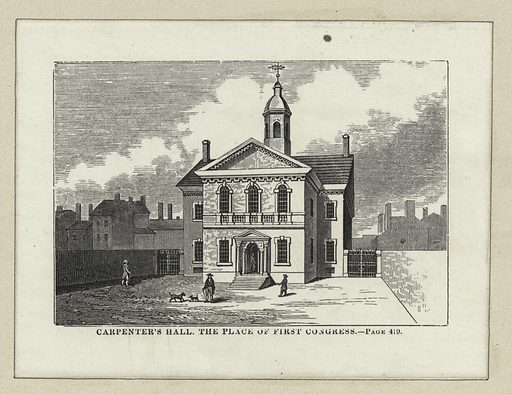 Carpenter's Hall, the place of the first Congress. Date: ca 1774–1888. Collection: Emmet Collection of Manuscripts Etc. Relating to American History, The Continental Congress of 1774. Image ID: 419888.