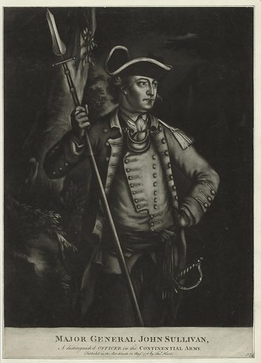 Major General John Sullivan, a distinguished officer in the Continential Army. Date: 1776. Origin: [London]. Collection: Emmet Collection of Manuscripts Etc. Relating to American History, The Continental Congress of 1774. Image ID: 419970.