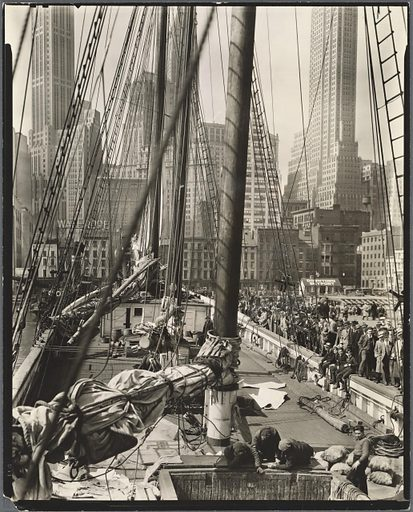 Theoline, Pier 11, East River, Manhattan. Date: 1936–04-09. Collection: Changing New York. Image ID: 482829.