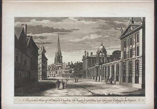 Perspective view of St Mary's Church, All-Souls, University and Queen's Colleges in Oxford. Collection: Emmet Collection of Manuscripts Etc. Relating to American History, Duer's Old Yorker. Image ID: EM13227.