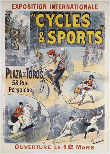 """Exposition Internationale."""" Cycles & Sports"""". Plaza de Toros. 58, Rue. Pergolèse. Ouverture le 12 mars. Date de création: 1892. Numéro d'object: CARAFF02437."""