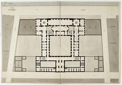 Plan des souterrains du projet pour le ministère des Affaires étrangères entre le quai d'Orsay et la rue de Lille. Date de création: 1810. Numéro d'object: CARD04465.