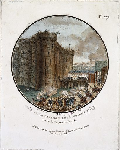 Storming of the Bastille, 14 July 1789. View of the entrance facade.