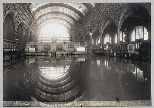 Flood of the Seine. Gare d'Orsay, 7th arrondissement, Paris, 30 January 1910.