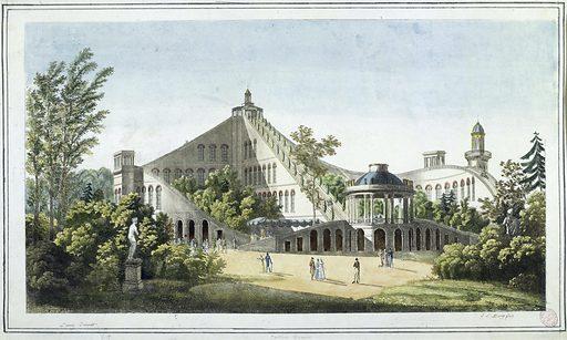 Perspective du projet de restauration des montagnes françaises dites Beaujon. Date de création: 1819. Numéro d'object: CARG033322.