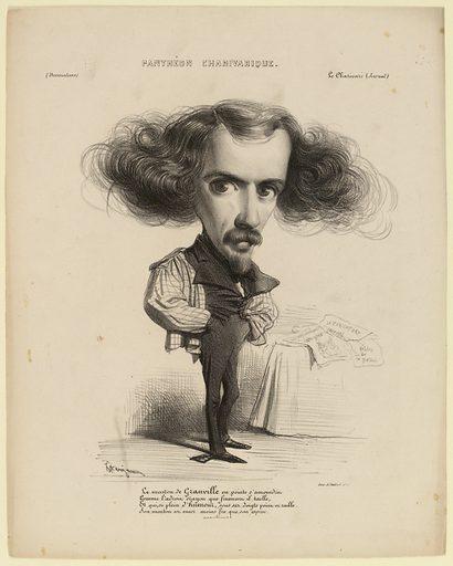 Le menton de Grandville en pointe s'amoindrit, Comme l'adroit crayon que finement il taille …. Date de création: vers 1838–1840. Numéro d'object: CARG010257.