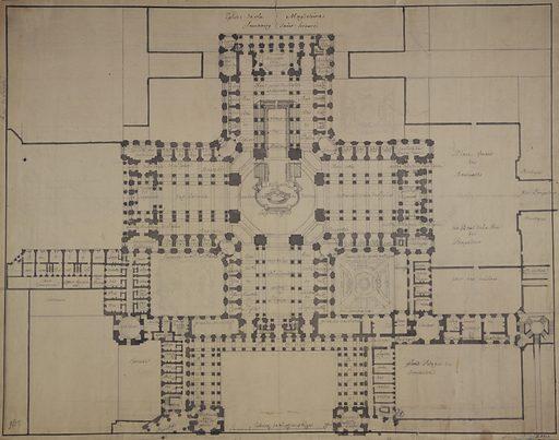 Projet de plan pour l'église de la Madeleine. Numéro d'object: CARD06909.