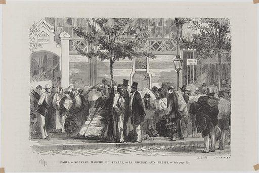 Paris. Nouveau marché du Temple. La bourse aux habits. Date de création: vers 1870. Numéro d'object: CARG039194.