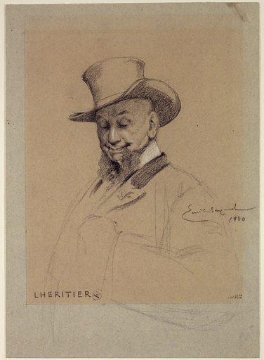 Portrait de Lhéritier, acteur du Palais Royal. Date de création: 1880. Numéro d'object: CARD04222.
