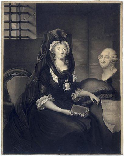 Portrait de Marie-Antoinette en grand deuil au temple; elle porte en médaillon l'effigie du Dauphin; à droite le buste de Louis XVI et le Testament. Date de création: 1793–1826. Numéro d'object: CARD08712.