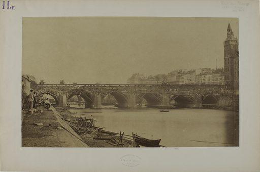 Reconstruction du pont au Change vers 1858 sur la Seine, 1er-4ème arrondissement, Paris. Date de création: 1853–1863. Numéro d'object: CARPH004360.