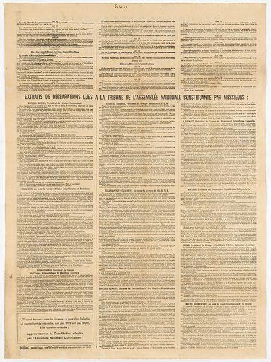 Texte du projet de constitution de la République Française établi par l'Assemblée Nationale constituante. Date de création: 1946. Numéro d'object: MLM2001.127.