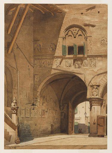 La Cour du palais de Podestat à Pistoia. Date de création: 1849. Numéro d'object: PPD01368.
