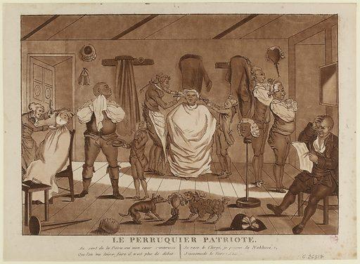 Le Perruquier Patriote. Date de création: vers 1780–1790. Numéro d'object: CARG026517.