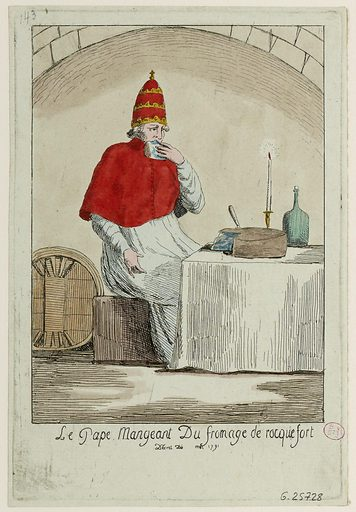 The Pope Eating Rocquefort Cheese. Decree of May 1791.