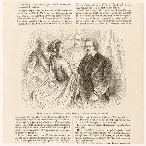 Balzac et autres célébrités chez Mme la duchesse d'Abrantès. Dessin de Foulquier. Numéro d'object: BAL0266.