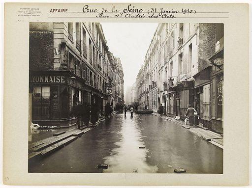 View of rue St André des Arts during the Seine flood of 1910, 5th arrondissement, Paris